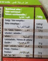 Durum tortillas - Valori nutrizionali - es