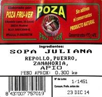 Sopa juliana - Ingrédients - es
