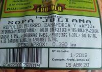 Sopa juliana - Informations nutritionnelles - es