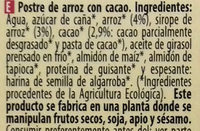 Yogurt de Arroz Cacao - Ingredients - es