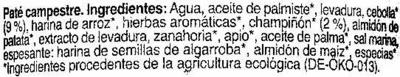 "Paté vegetal ecológico ""NaturGreen"" Campestre - Ingredients - es"