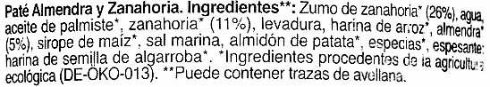 Paté vegetal almendra y zanahoria - Ingrédients