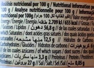 Tahín blanco Natur Green - Información nutricional