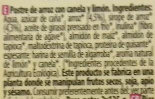 Postre de arroz Canela y limón - Ingredientes - es