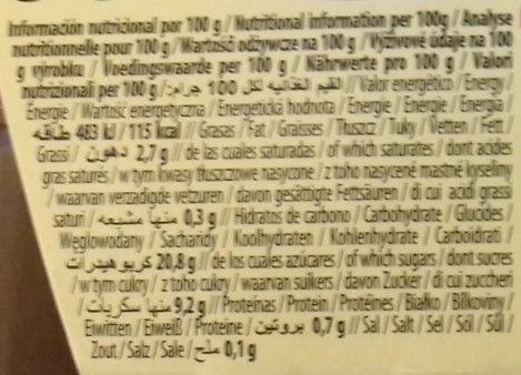 Postre de arroz Canela y limón - Información nutricional - es