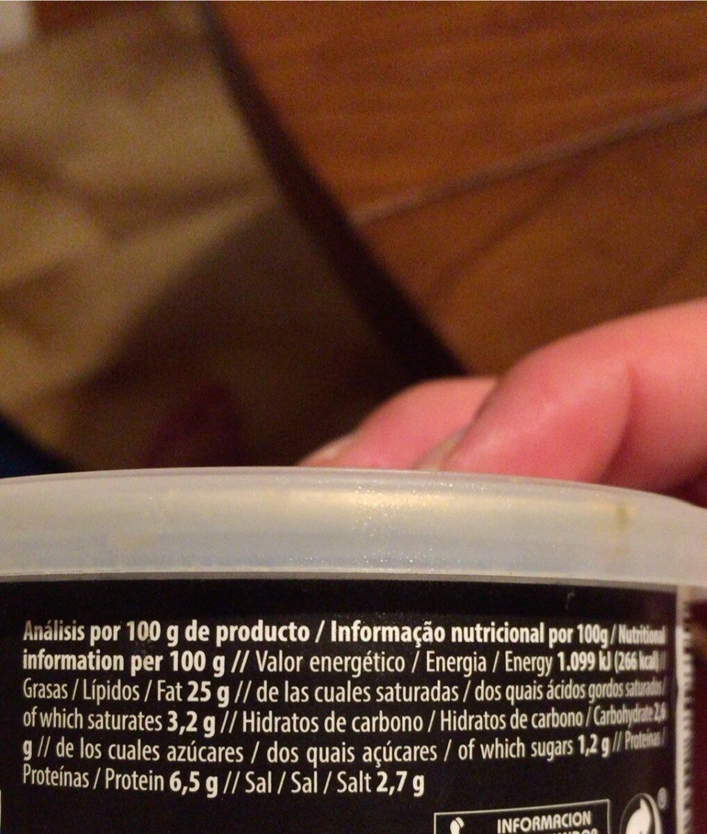 Crema de paté almendra, olivas - Información nutricional - es