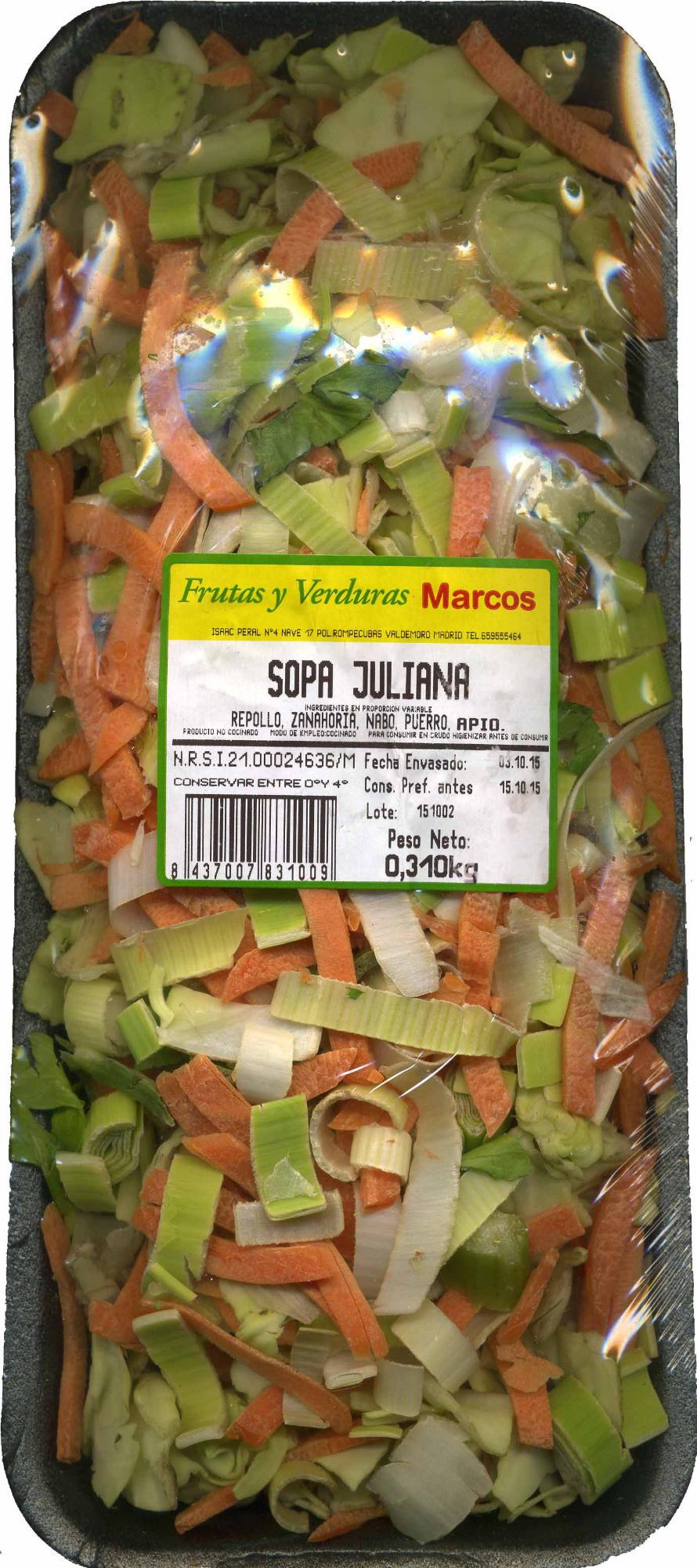 Sopa juliana - Producte