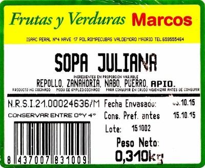 Sopa Juliana - Ingredients - es