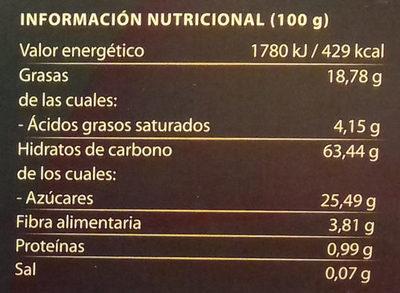 Polvorones de almendra sin gluten y sin lactosa - Informació nutricional