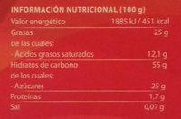 Mantecados de coco bañados con chocolate sin gluten - Informació nutricional - es
