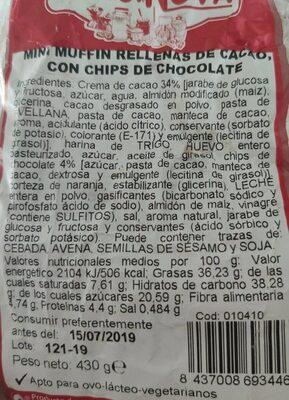 Mini muffins rellenas de cacao, con chips de chocolate - Informations nutritionnelles