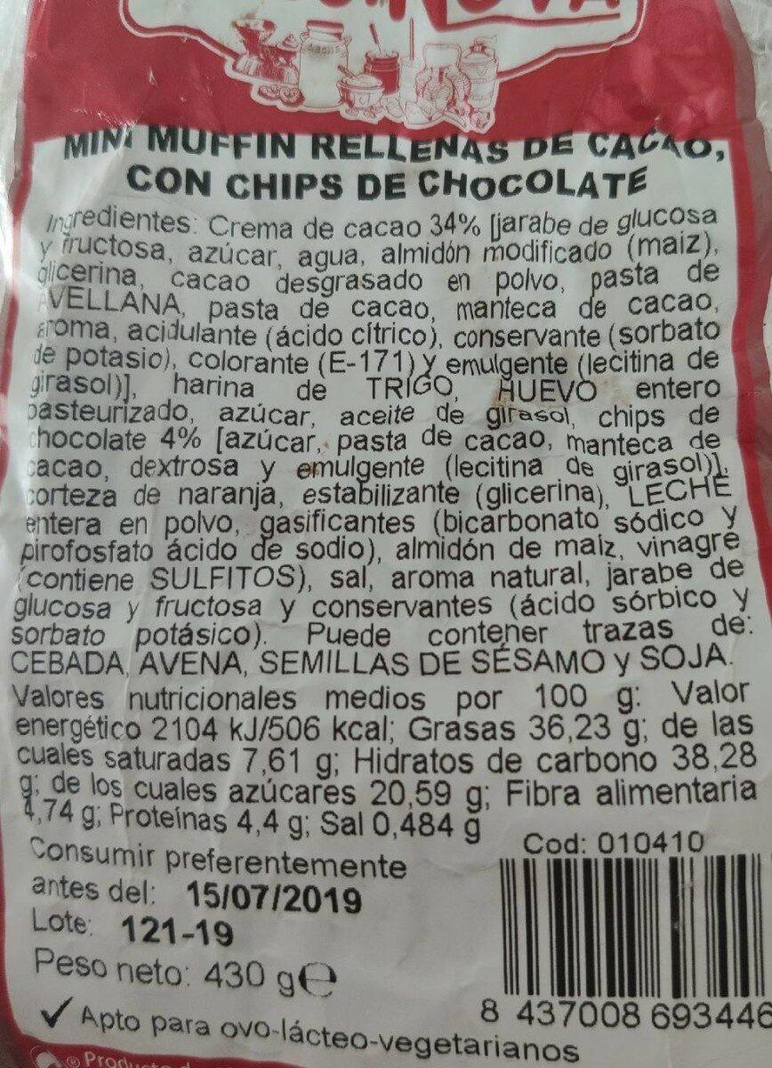 Mini muffins rellenas de cacao, con chips de chocolate - Informations nutritionnelles - es