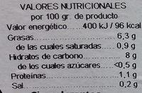 Judía verde y zanahoria - Información nutricional