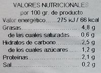 Alcachofas mitades - Información nutricional