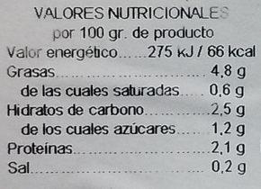 Alcachofas mitades - Informations nutritionnelles - es