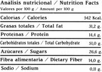 Chocolate negro 85% cacao - Información nutricional