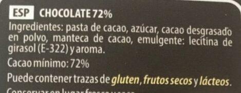 Chocolate negro 72% edición especial - Ingredients