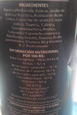Galizian Energy Drink - Información nutricional