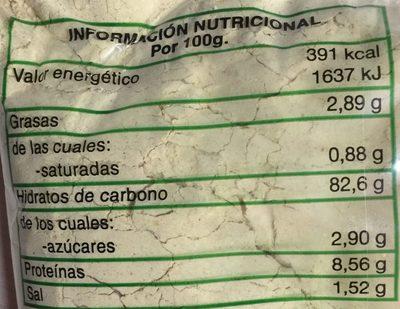 Gofio gomero - Información nutricional