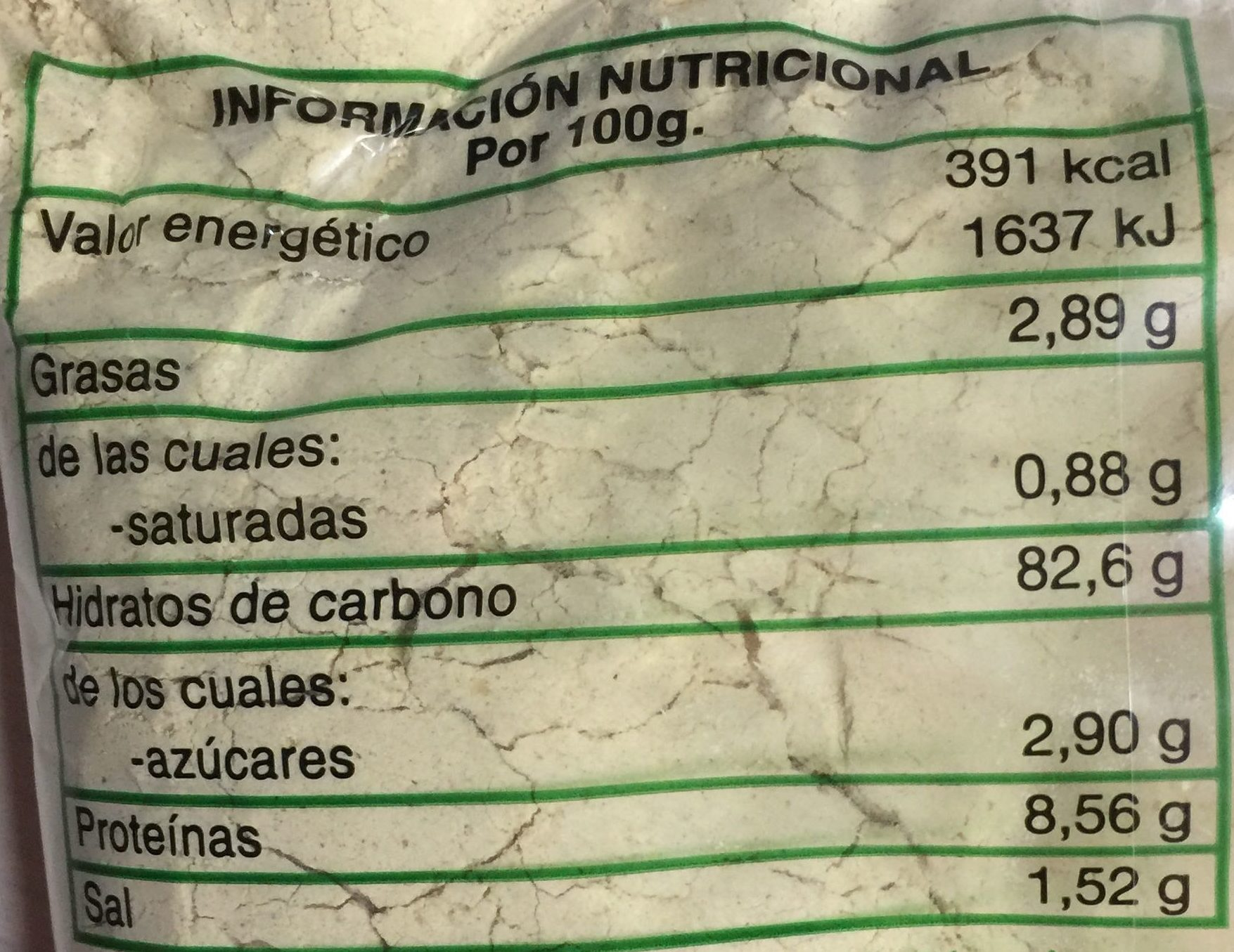 Gofio - Información nutricional - es