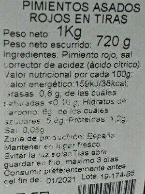 Pimientos rojos asados - Ingrédients - es