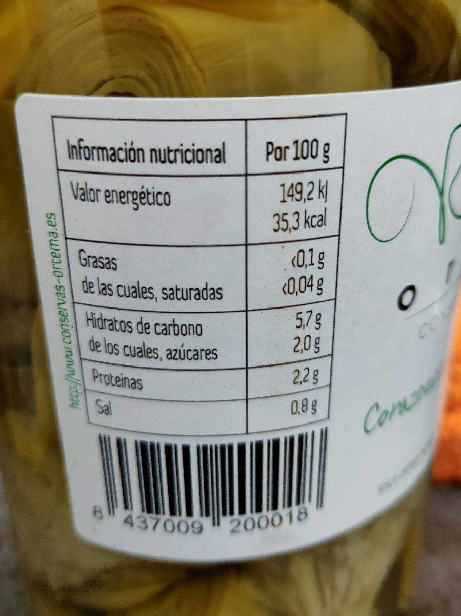 Ortema corazones alcachofa al natural - Información nutricional