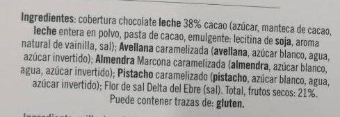 Chocolate con leche frutos secos - Ingredients