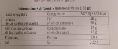 Chocolate con leche frutos secos - Nutrition facts