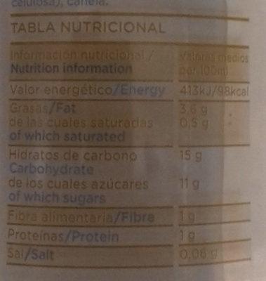 Horchata Fresca - Información nutricional
