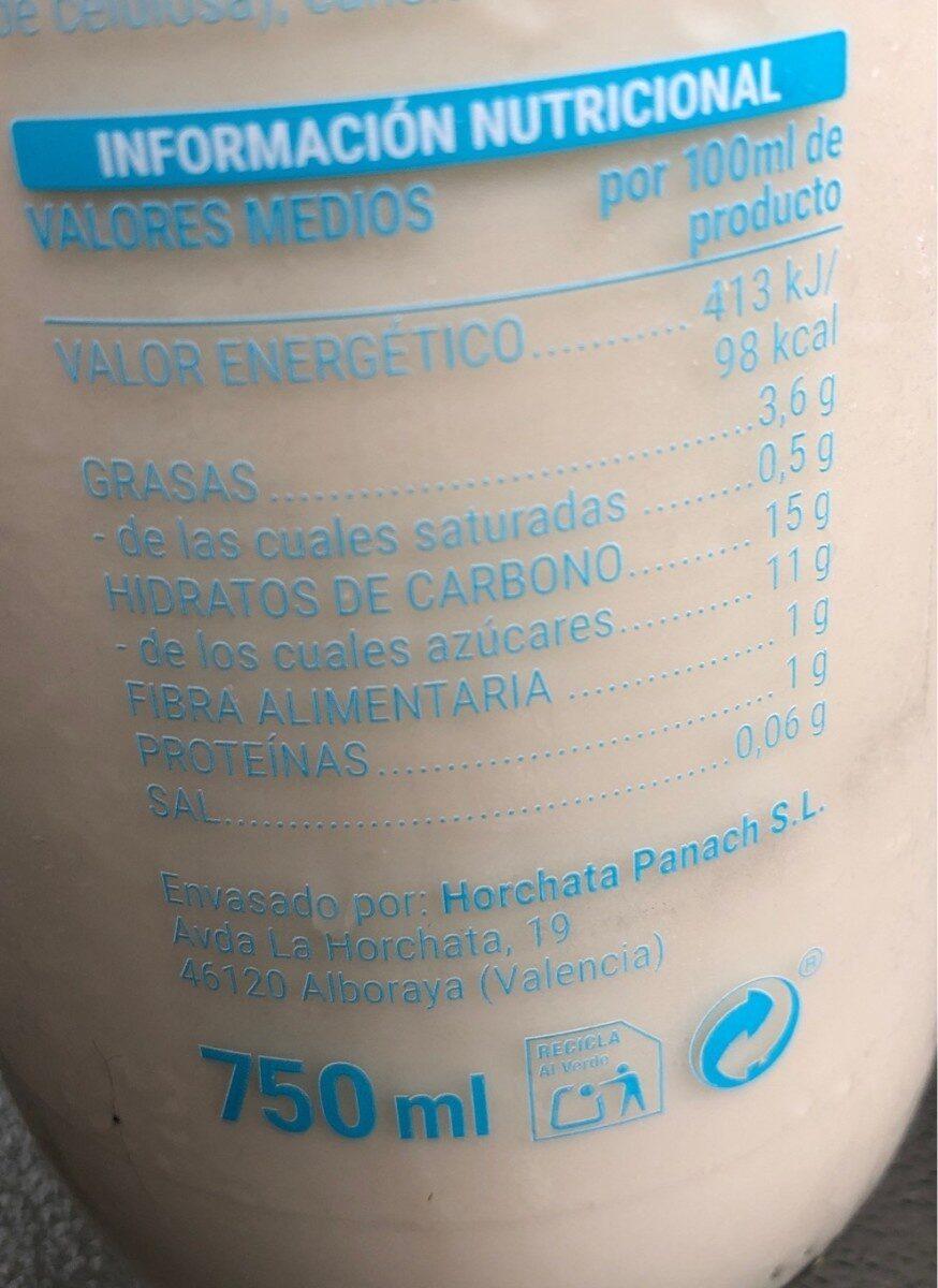 Horchata fresca - Informació nutricional