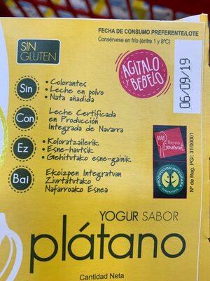 Lactuyogur yogur sabor plátano sin gluten - Ingrediënten