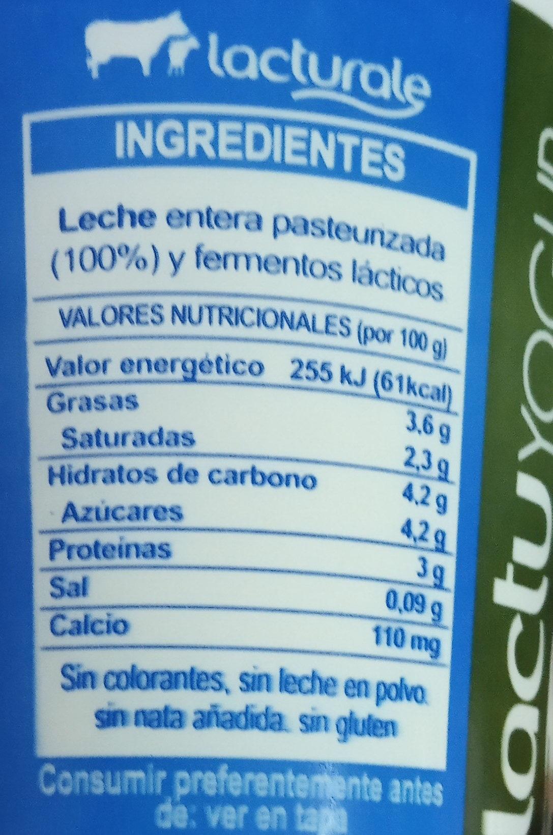 Yogur natural Lactuyogur - Informació nutricional