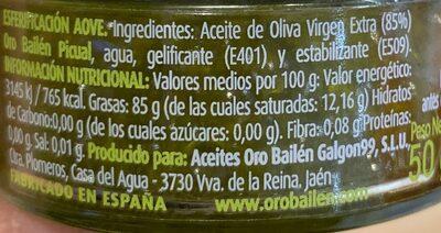 Perlas de aceite de oliva - Nutrition facts