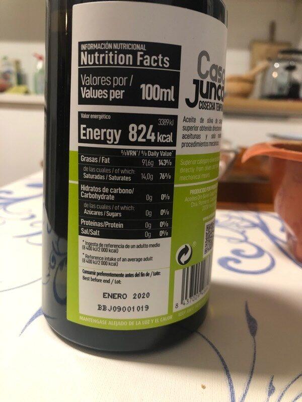 Aceite de oliva virgen extra picual - Información nutricional