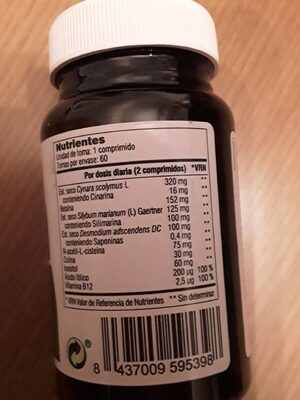 Hepa complex - Información nutricional