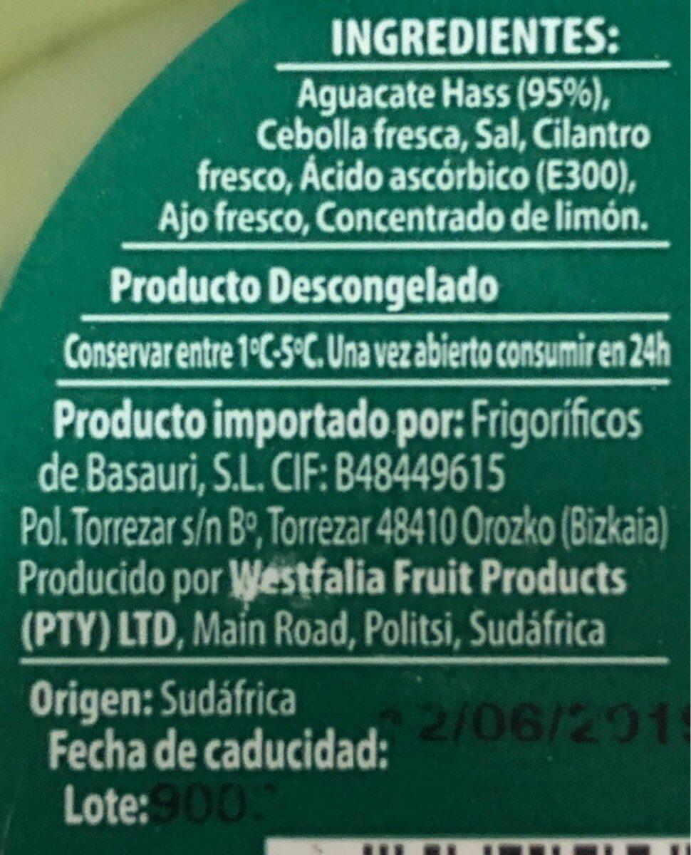 Guacamole suave - Ingrédients
