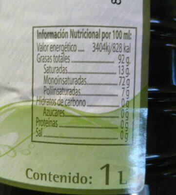 Aceite de Oliva Virgen Extra BIO - Información nutricional - es