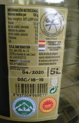 Señorío de Media Aceite de Oliva Virgen Extra - Nutrition facts - es