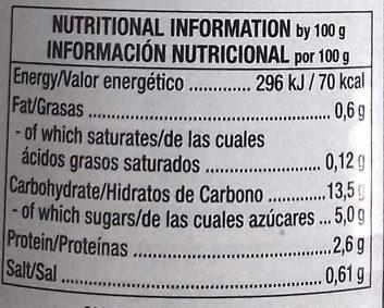 Alubias cocidas en salsa de tomate - Información nutricional