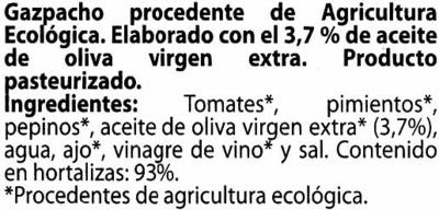 Gazpacho ecológico - Ingrédients - es