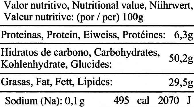 Patatas chips artesanas - Nutrition facts - es