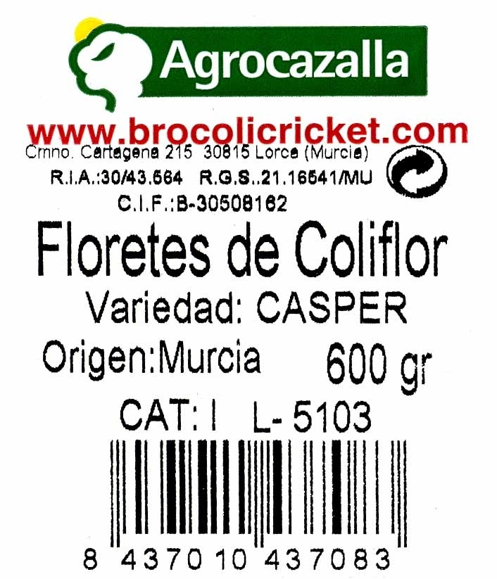 Floretes de coliflor - Ingredients - es