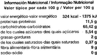 Espaguetis de trigo duro integral - Informació nutricional