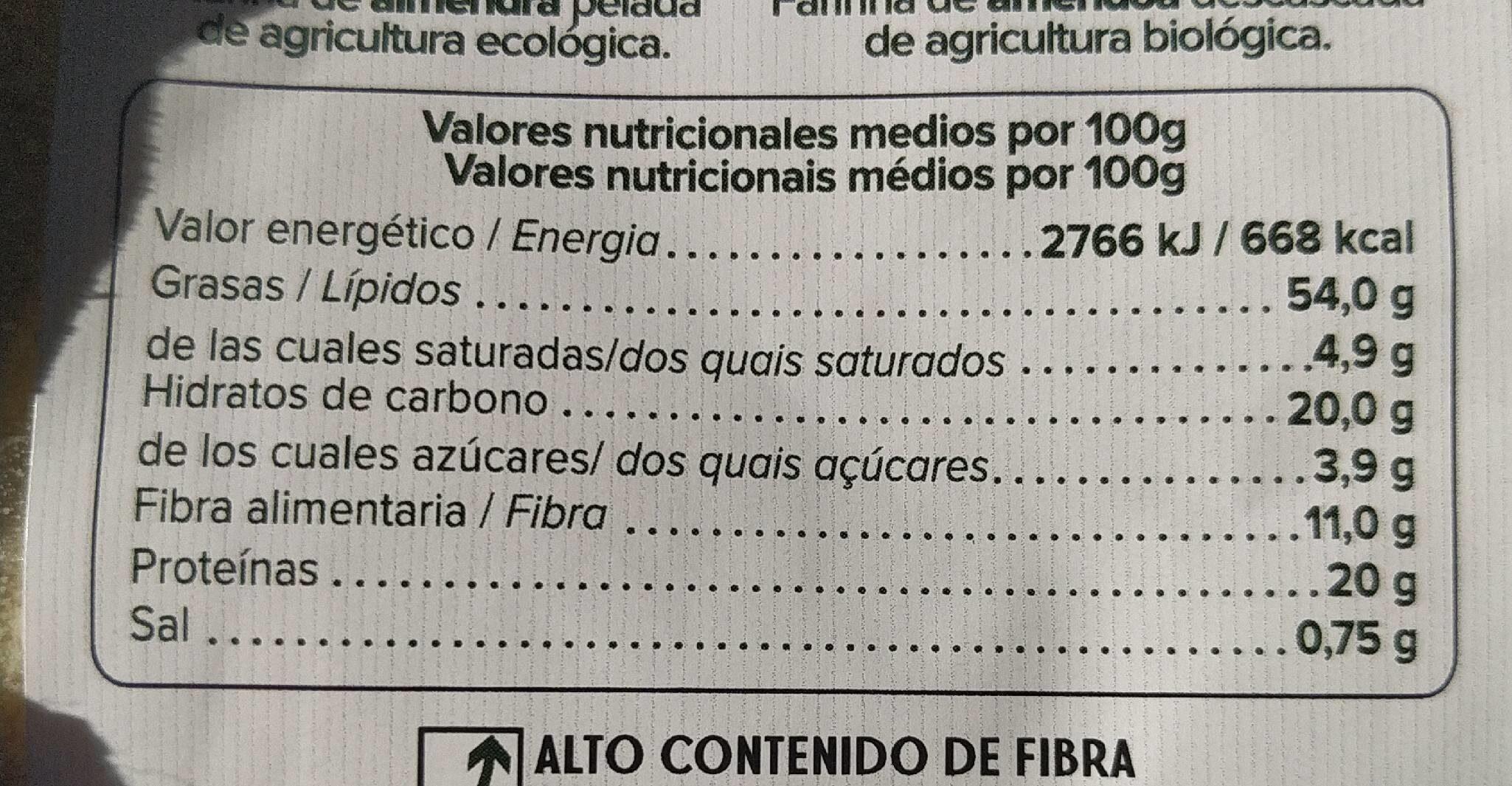 Harina almendras - Informació nutricional - es