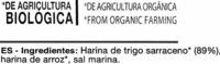 Grissoni de trigo sarraceno - Ingredientes