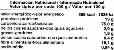 Grissoni de trigo sarraceno - Información nutricional