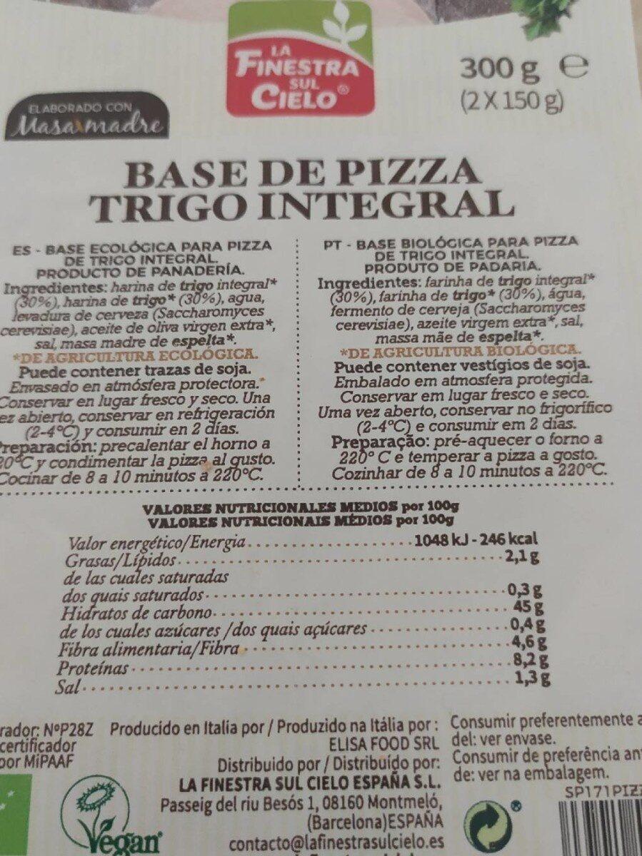Base de Pizza Trigo Integral - Información nutricional