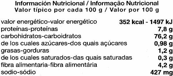 Grissoni maíz - Información nutricional - es