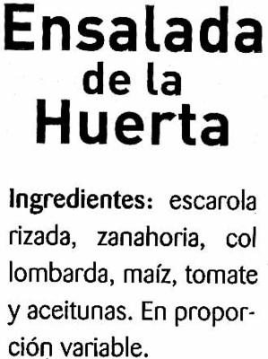 Ensalada de la huerta - Ingredients - es