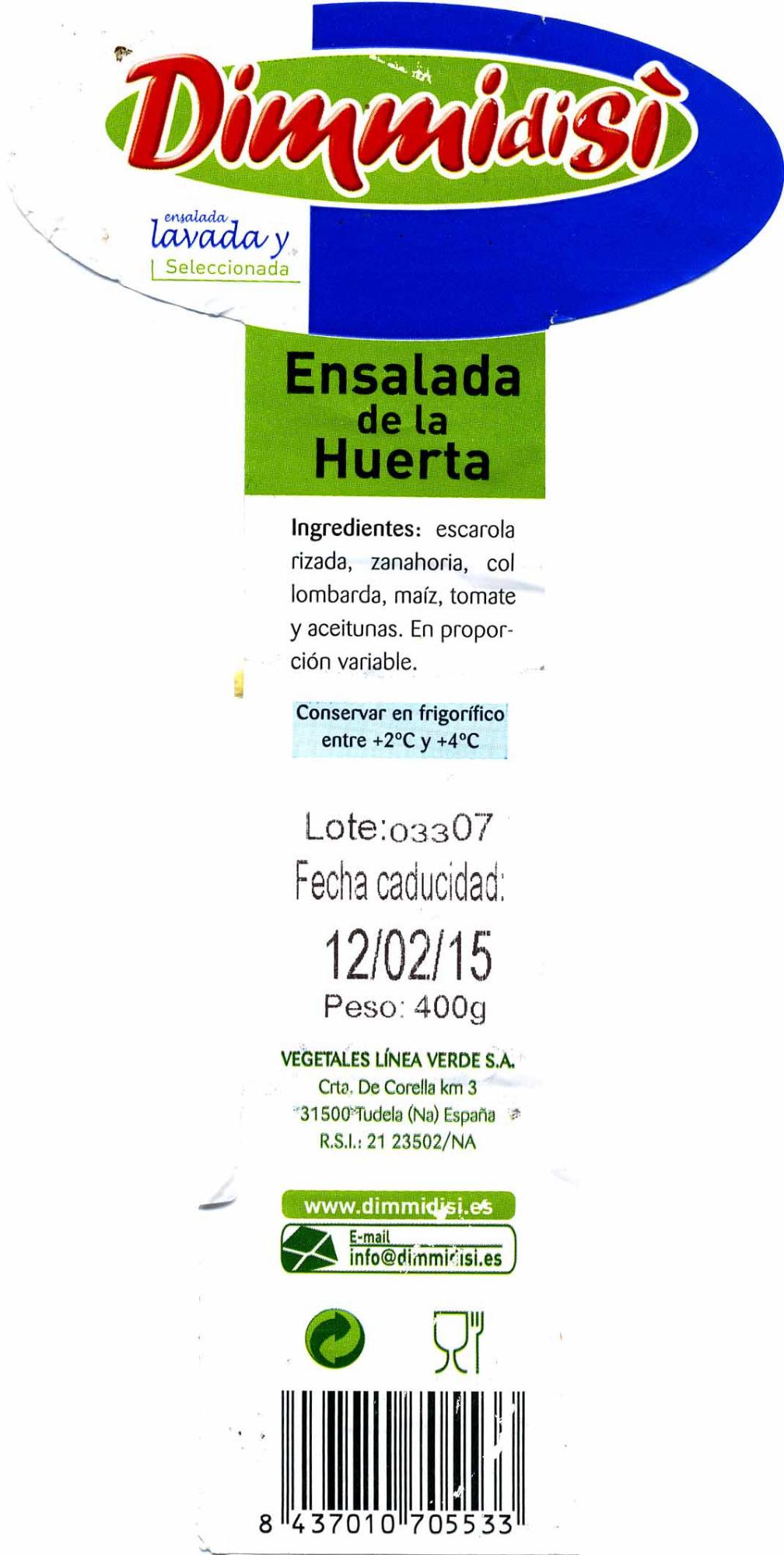 Ensalada de la huerta - Informació nutricional - es